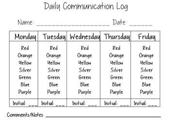 Behavior Communication Weekly Sheet