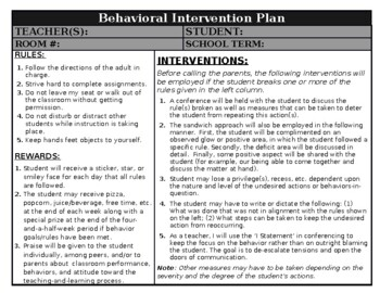 Editable Behavior Contract / Intervention Support Packet