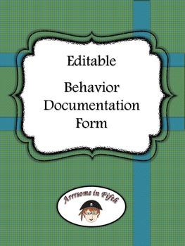 Back to School Editable Behavior Documentation Form