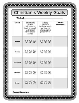 Editable Behavior Goals Weekly Tracking Sheet