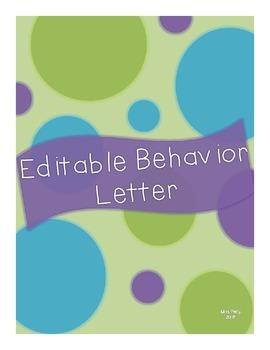 Editable Behavior Letter