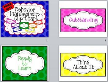 Editable Behavior Management Clip Chart - Large Polka Dots