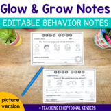 Editable Behavior Notes to Send Home | Glow and Grow Notes with Pictures