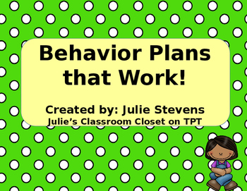 Editable Behavior Plans, Behavior Documenting, Binder Covers