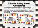 Editable Behavior Punchcards - Spring Break Theme