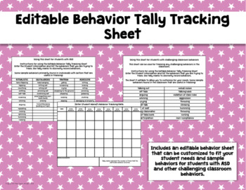Editable Behavior Tally Tracking Sheet