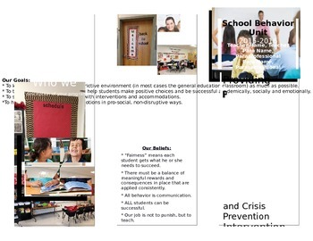 Editable Behavior Unit or Special Education Class Brochure Information Pamphlet