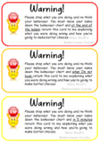 Editable Behaviour Warning Cards