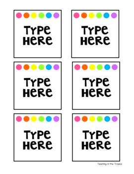 Editable Bin Labels (White Background)