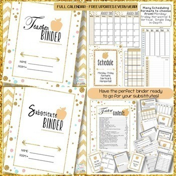 Teacher Binder 2018-2019  Editable Teacher Planner - Substitute - Student Binder