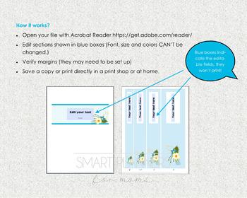 Editable Binder Cover  Printable Set of 5  8 5