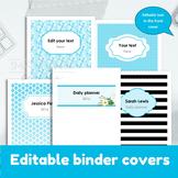 """Editable Binder Cover. Printable Set of 5. 8.5""""x11"""". Edita"""