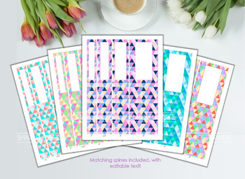 5 Editable Binder Cover. Printable  Color triangles.