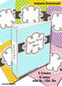 Editable Binder Cover Set of 5 Colors for Teacher Binders, Portfolios