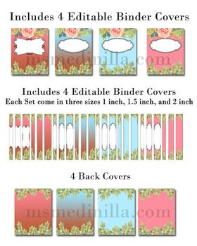 Editable Binder Cover Sets of Four Floral Teacher Binders, Portfolios and MORE