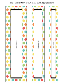Editable Binder Cover and Spines in Pastel Colors FREEBIE