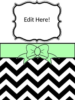 Editable Binder Cover and inserts (5 Colors)