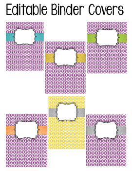 Editable Binder Cover (purple, yellow retro)