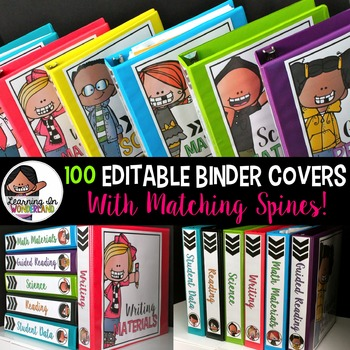 Binder Covers - Editable {100 Designs & Matching Spines}