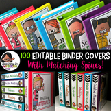 Binder Covers and Spines Editable   100 Clip Art Images Included!