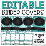 Binder Covers - Editable Teal and Chalkboard
