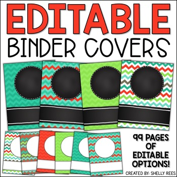 Editable Binder Covers Colorful Chevron