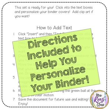 Editable Binder Covers, Backs and Spines - 7 colors - 3 Designs