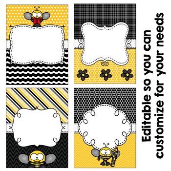Editable Binder Covers - Bee Themed