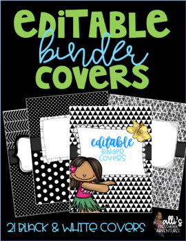 Editable Binder Covers - Black & White