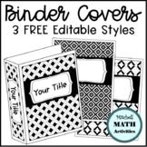 Editable Binder Covers - Black & White Geometric Patterns