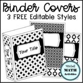 Editable Binder Covers with Black and White Patterns