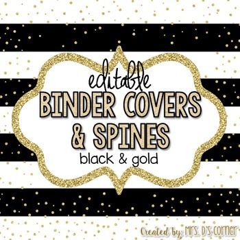 editable binder covers black and gold with editable spines by