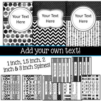 Editable Binder Covers Black and White
