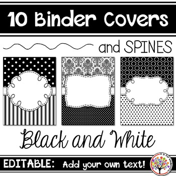 editable binder covers black and white b w by k is for kinderrific