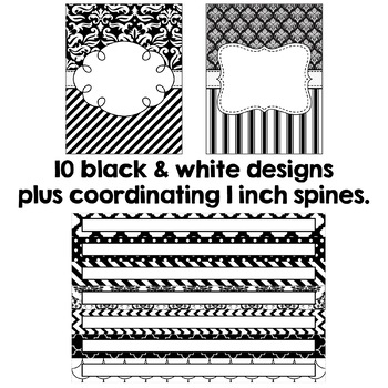 Editable Binder Covers - Black and White B&W