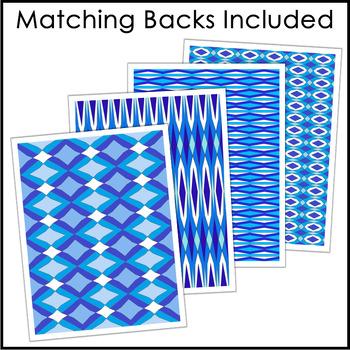 Editable Binder Covers - Blue Geometric Patterns