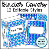 Editable Binder Covers with Blue and White Patterns
