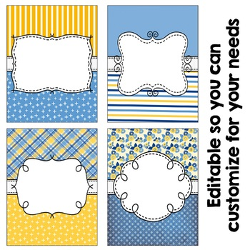 Editable Binder Covers - Blue and Yellow