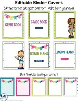 Editable Binder Covers in Bright Colors