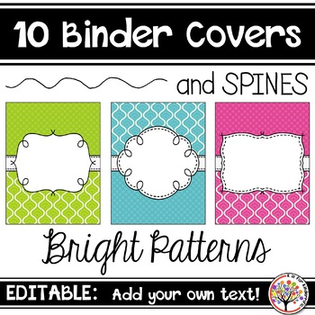 Editable Binder Covers - Bright Patterns