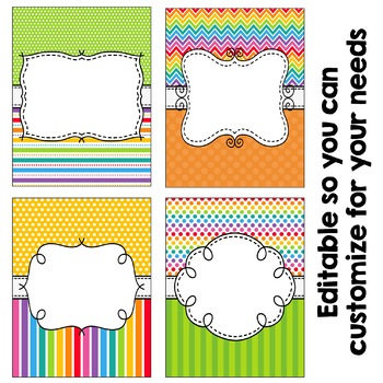 Editable Binder Covers - Bright Rainbow