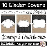 Editable Binder Covers - Burlap & Chalkboard