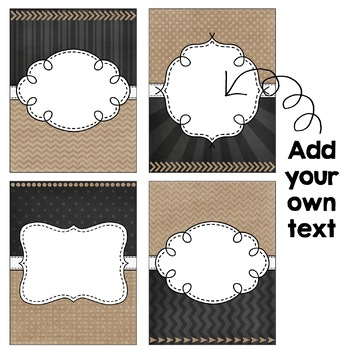 Editable Binder Covers - Burlap & Chalkboard