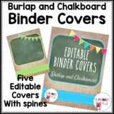 Editable Binder Covers: Burlap and Chalkboard