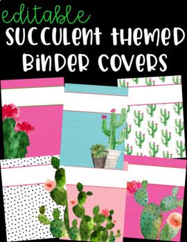 Editable Binder Covers - Cactus - Succulent - Decor