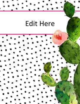 editable binder covers cactus succulent decor tpt