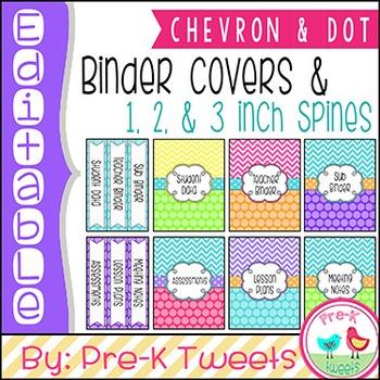 Editable Binder Covers - Chevron and Polka Dot