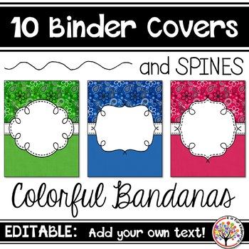 Editable Binder Covers - Colorful Bandanas