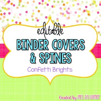 Editable Binder Covers { Confetti Brights } with Editable Spines