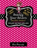 Editable Binder Covers FREE - Beautify Your Binders With Pink and Black Dots